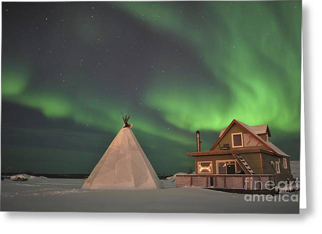 Slaves Photographs Greeting Cards - Northern Lights Above Village Greeting Card by Jiri Hermann