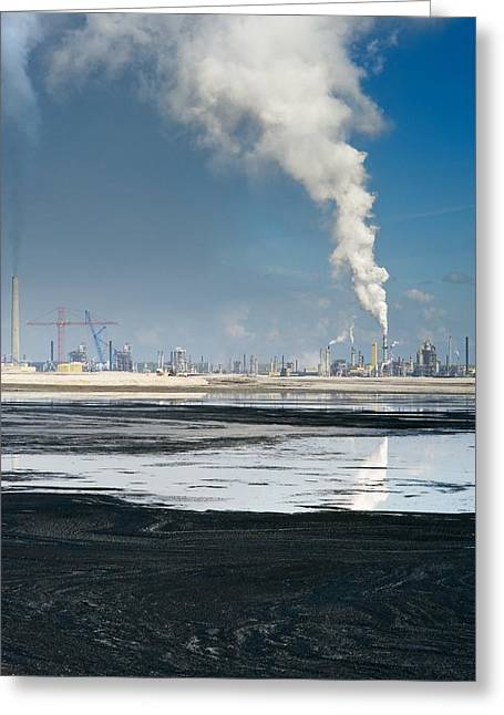 Oil Slick Photographs Greeting Cards - Oil Industry Pollution Greeting Card by David Nunuk