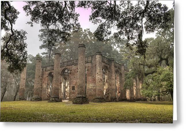 Live Oak Trees Greeting Cards - Old Sheldon Church Ruins Greeting Card by Dustin K Ryan