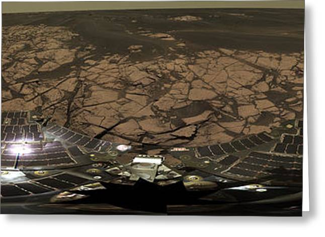 Experiment Greeting Cards - Panoramic View Of Mars Greeting Card by Stocktrek Images