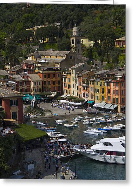 Riviera Greeting Cards - Portofino in the Italian Riviera in Liguria Italy Greeting Card by David Smith