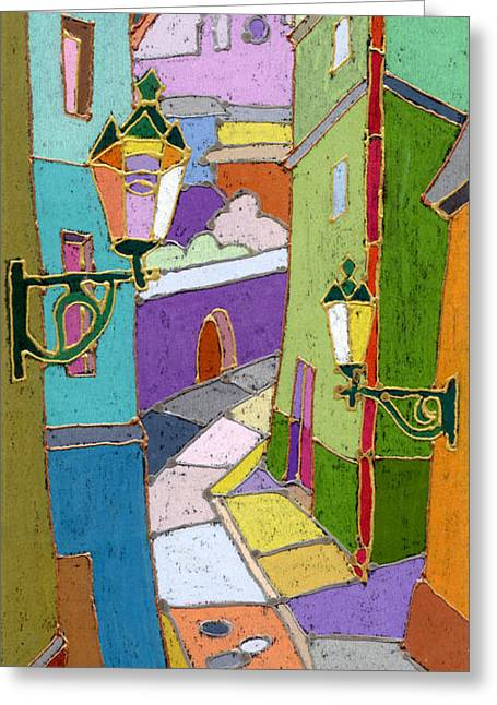 Colors Greeting Cards - Prague Old Street Greeting Card by Yuriy  Shevchuk