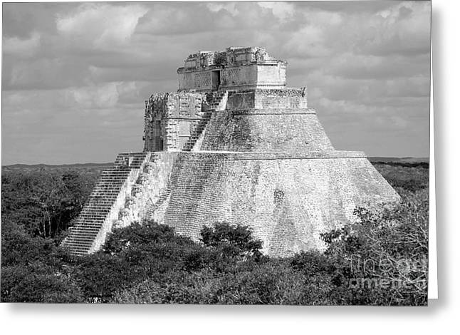 White Digital Art Greeting Cards - Pyramid of the Magician at Uxmal Mexico Black and White Greeting Card by Shawn O