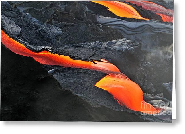 Sami Sarkis Photographs Greeting Cards - River of molten lava Greeting Card by Sami Sarkis