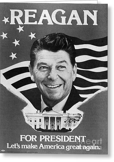 President Reagan Greeting Cards - Ronald Reagan (1911-2004) Greeting Card by Granger