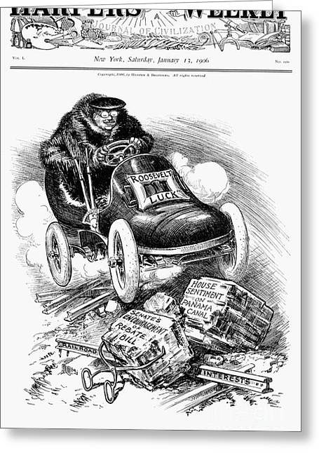American Automobiles Greeting Cards - Roosevelt Cartoon, 1906 Greeting Card by Granger