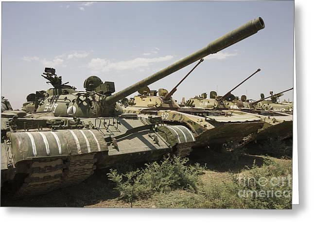 Russian Civil War Greeting Cards - Russian T-54 And T-55 Main Battle Tanks Greeting Card by Terry Moore