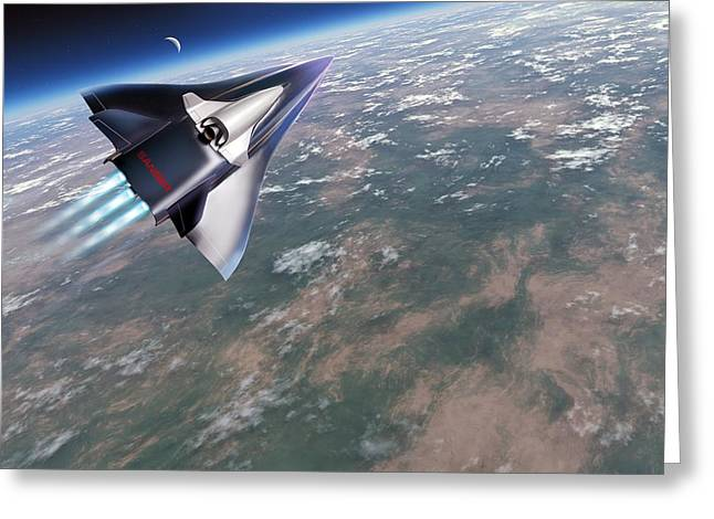 Spaceplane Greeting Cards - Saenger-horus Spaceplane, Artwork Greeting Card by Detlev Van Ravenswaay
