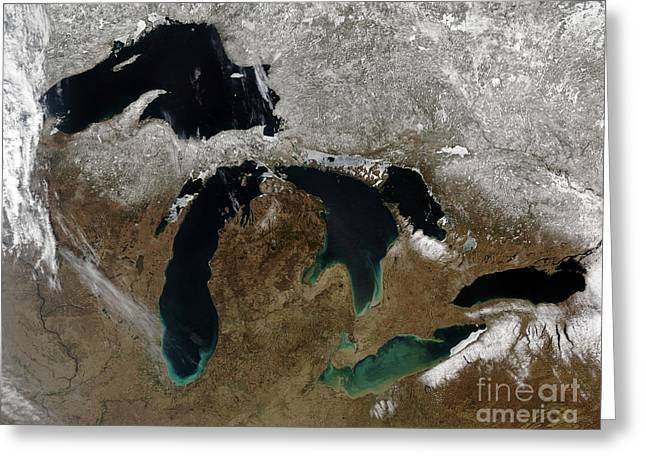 True Colors Greeting Cards - Satellite View Of The Great Lakes Greeting Card by Stocktrek Images