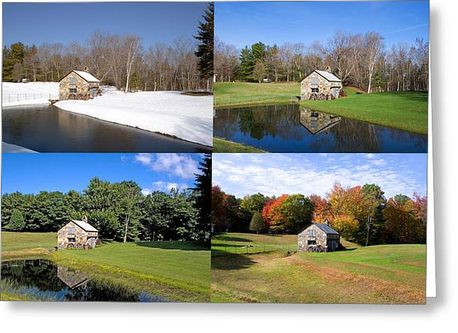 4 Stones Greeting Cards - 4 Seasons Stone Shed Greeting Card by Larry Landolfi
