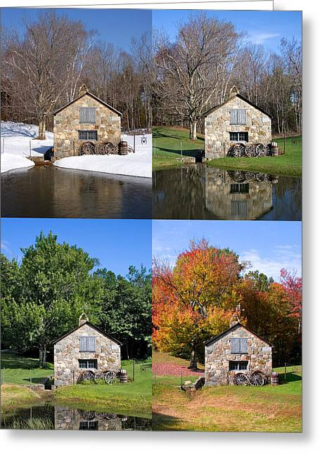 4 Stones Greeting Cards - 4 Seasons Stone Shed Vertical Greeting Card by Larry Landolfi