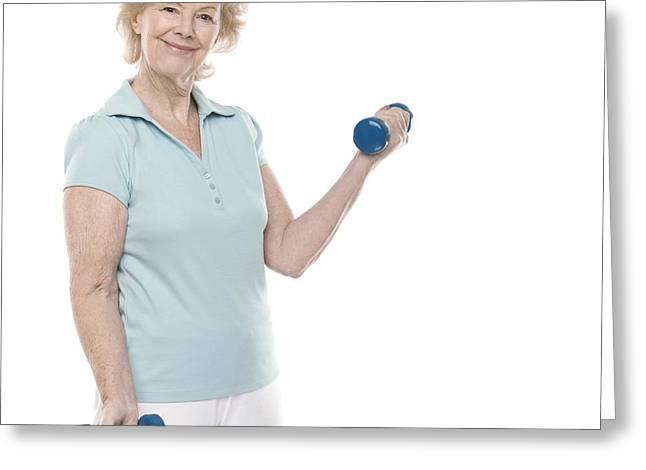Senior Women Greeting Cards - Senior Woman Lifting Weights Greeting Card by