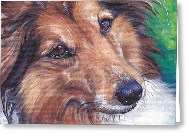 Recently Sold -  - Puppies Paintings Greeting Cards - Shetland Sheepdog Greeting Card by Lee Ann Shepard