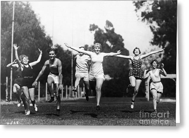 Footrace Greeting Cards - Silent Film Still: Sports Greeting Card by Granger