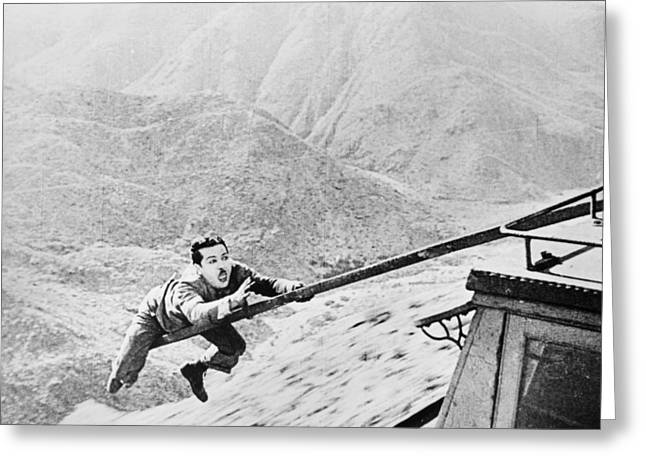 Stunts Greeting Cards - Silent Film Still: Stunts Greeting Card by Granger