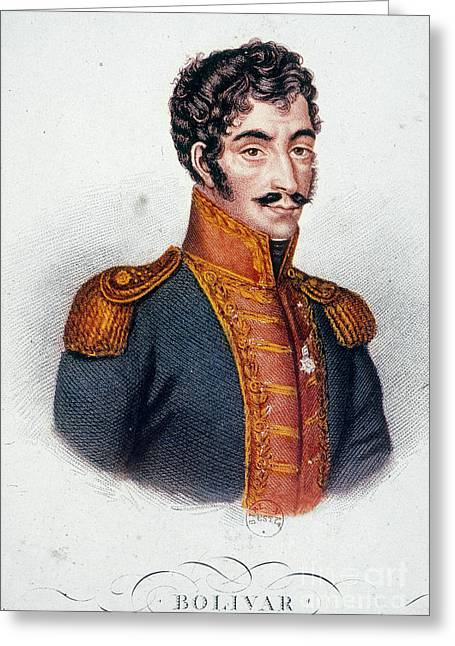 Sideburns Greeting Cards - Simon Bolivar (1783-1830) Greeting Card by Granger