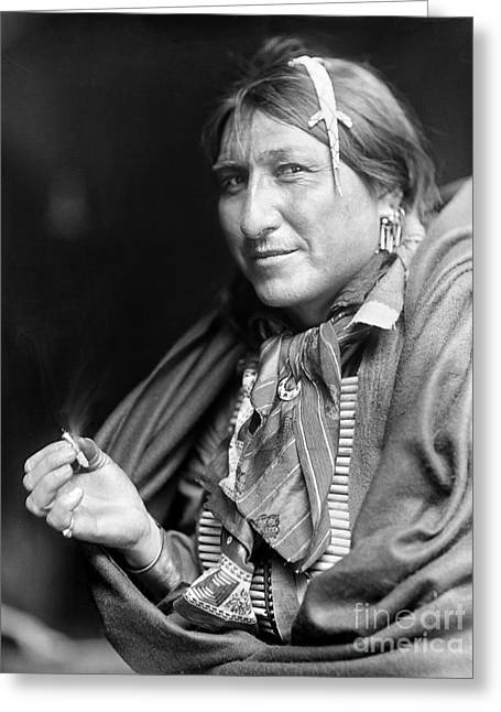 Smoker Greeting Cards - SIOUX NATIVE AMERICAN, c1900 Greeting Card by Granger