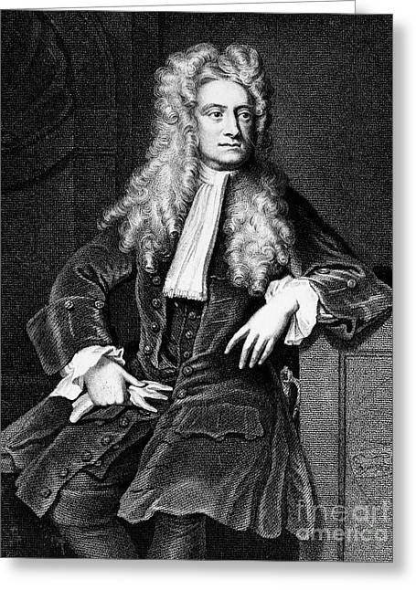 18th Century Greeting Cards - Sir Isaac Newton (1643-1727) Greeting Card by Granger