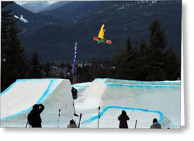 Telus Greeting Cards - Snowboarder at the Telus snowboard festival Whistler 2010 Greeting Card by Pierre Leclerc Photography