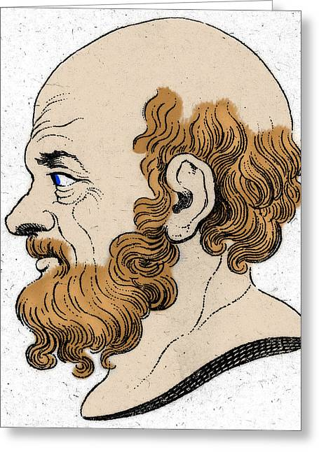 Taught Greeting Cards - Socrates, Greek-athenian Philosopher Greeting Card by Photo Researchers