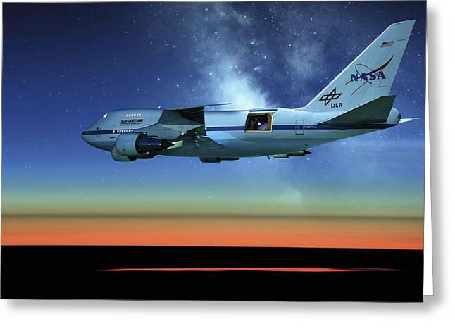 Sofia Airborne Observatory In Flight Greeting Card by Detlev Van Ravenswaay