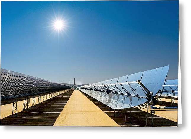 Power Plants Greeting Cards - Solar Power Plant, California, Usa Greeting Card by David Nunuk