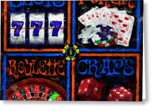 Roulettes Greeting Cards - 4 Squares of Gaming Greeting Card by David G Paul