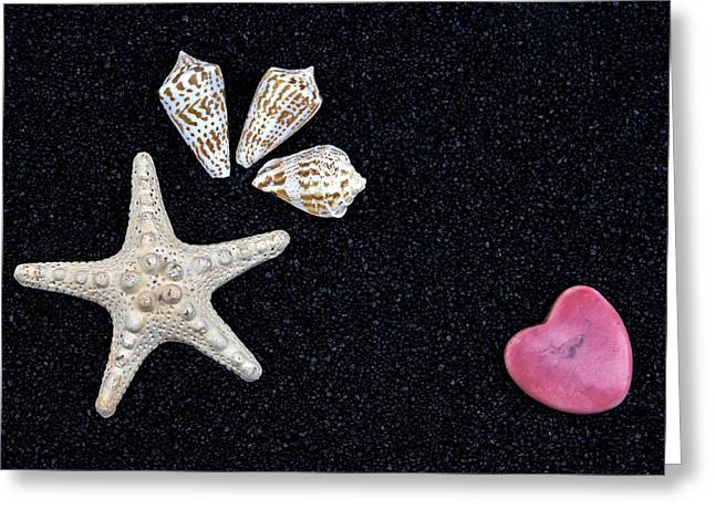 Shell Texture Greeting Cards - Starfish On Black Sand Greeting Card by Joana Kruse