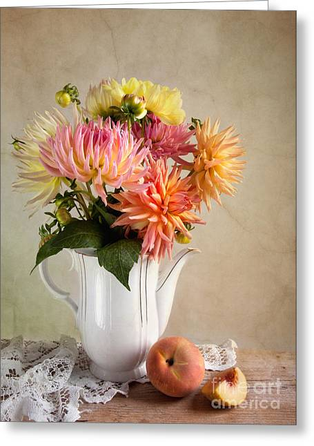 Mug Greeting Cards - Still Life with Dahila Greeting Card by Nailia Schwarz
