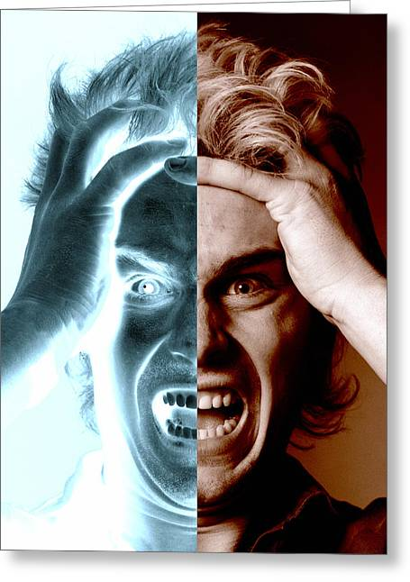 Multiple Personalities Greeting Cards - Stressed Man Greeting Card by Victor De Schwanberg