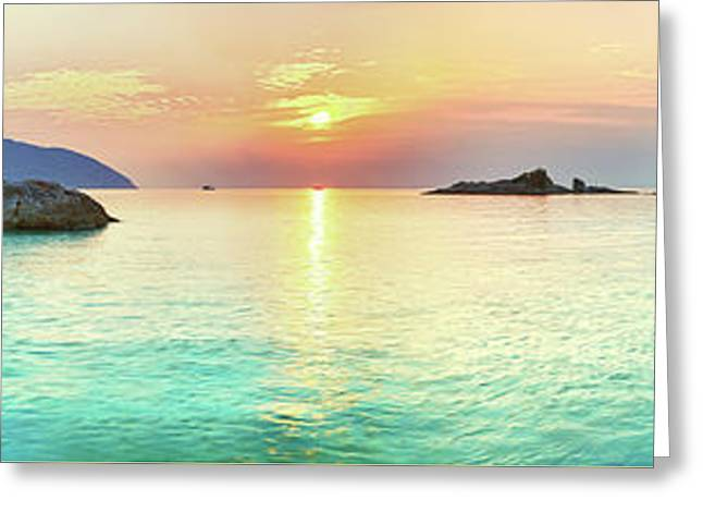 Ocean Panorama Greeting Cards - Sunrise Greeting Card by MotHaiBaPhoto Prints
