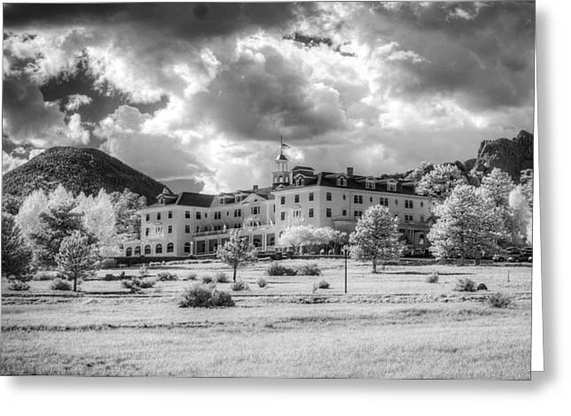 Colorado Pyrography Greeting Cards - The Stanley Hotel Greeting Card by G Wigler