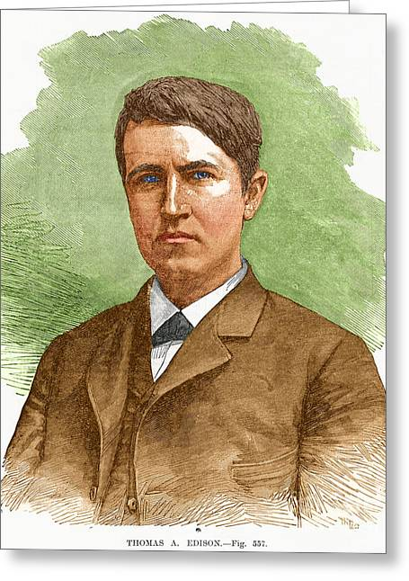 Thomas Edison, American Inventor Greeting Card by Science Source