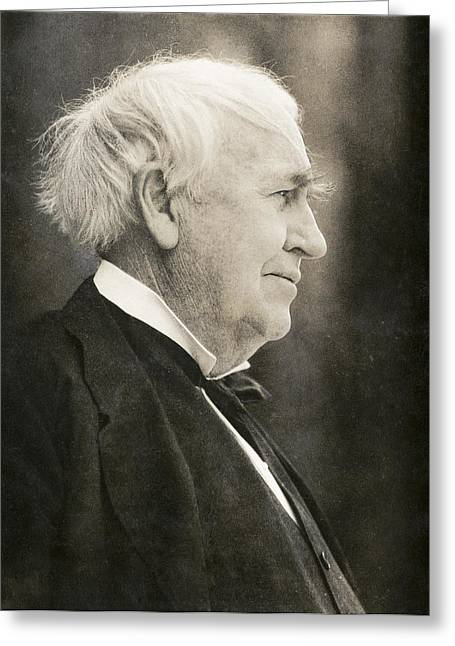 Thomas Alva Edison Greeting Cards - Thomas Edison, Us Inventor Greeting Card by Humanities & Social Sciences Librarynew York Public Library