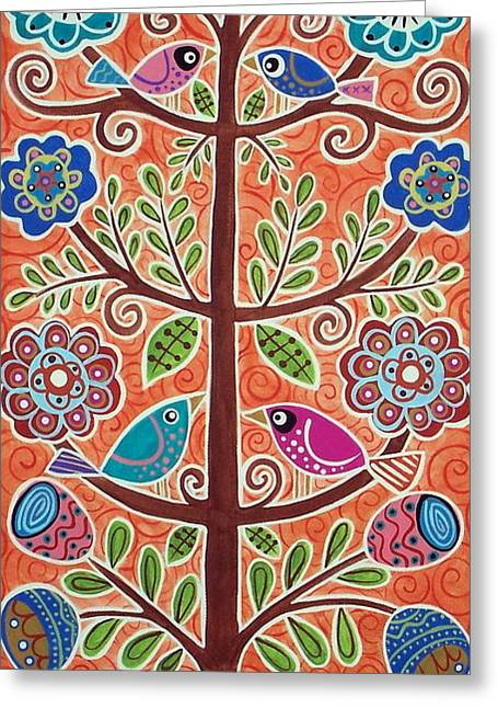 Colorful Trees Greeting Cards - 4 Tree Birds Greeting Card by Karla Gerard