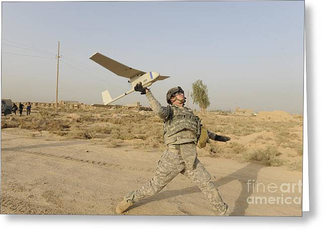 Baghdad Greeting Cards - U.s. Army Soldier Launches An Rq-11 Greeting Card by Stocktrek Images