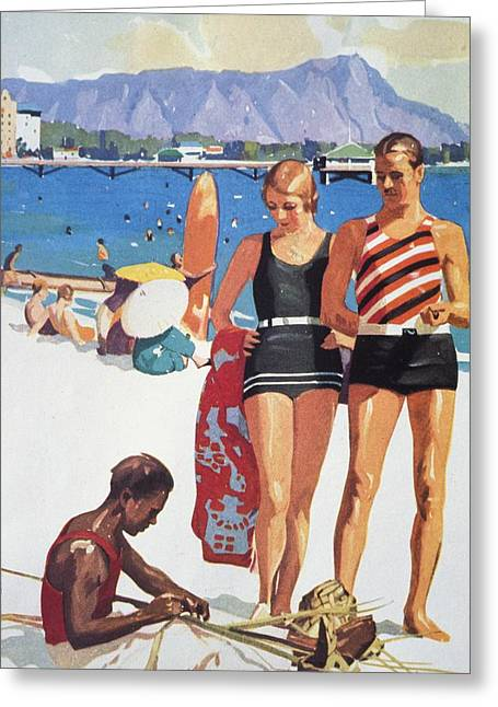 Surfing Art Paintings Greeting Cards - Vintage Hawaiian Art Greeting Card by Hawaiian Legacy Archive - Printscapes