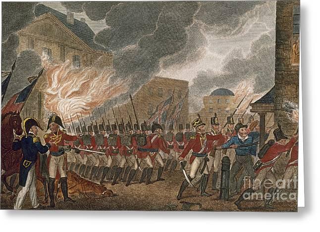 Bayonet Photographs Greeting Cards - Washington Burning, 1814 Greeting Card by Granger