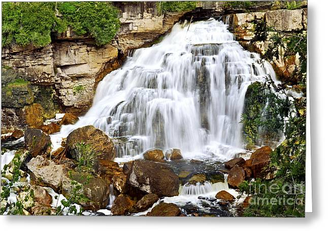 Falling Water Falls Greeting Cards - Waterfall Greeting Card by Elena Elisseeva