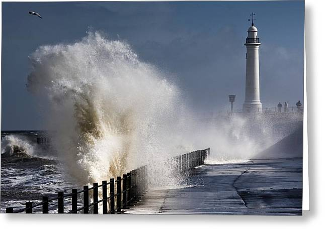 Worn In Greeting Cards - Waves Crashing By Lighthouse At Greeting Card by John Short