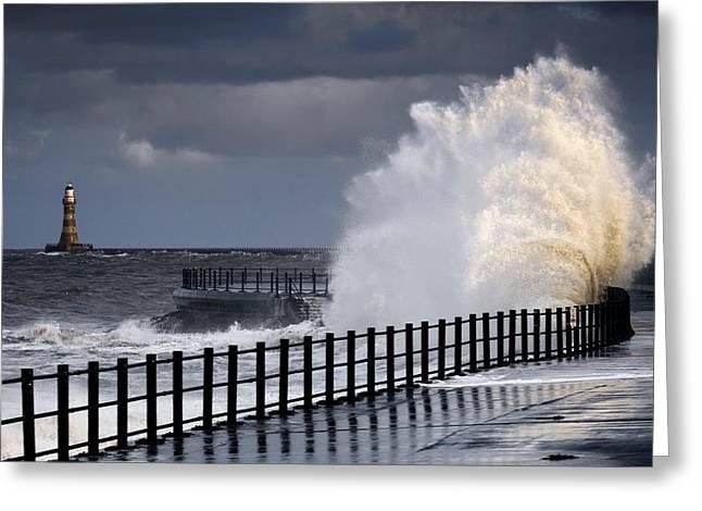 Worn In Greeting Cards - Waves Crashing, Sunderland, Tyne And Greeting Card by John Short