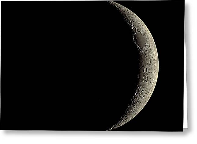 Waxing Crescent Greeting Cards - Waxing Crescent Moon Greeting Card by Eckhard Slawik