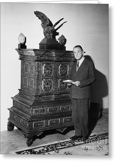 Portrait Sculpture Photograph Greeting Cards - William Somerset Maugham Greeting Card by Granger