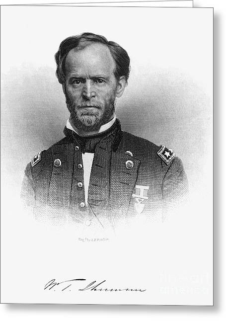 Autograph Greeting Cards - William Tecumseh Sherman Greeting Card by Granger