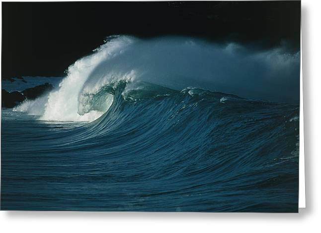 Waves Greeting Cards - Wind-blown Wave Breaking In Hawaii Greeting Card by G. Brad Lewis
