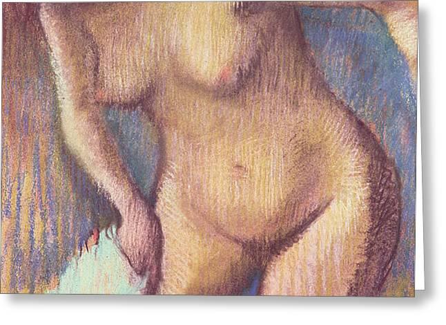 Woman Drying Herself Greeting Card by Edgar Degas