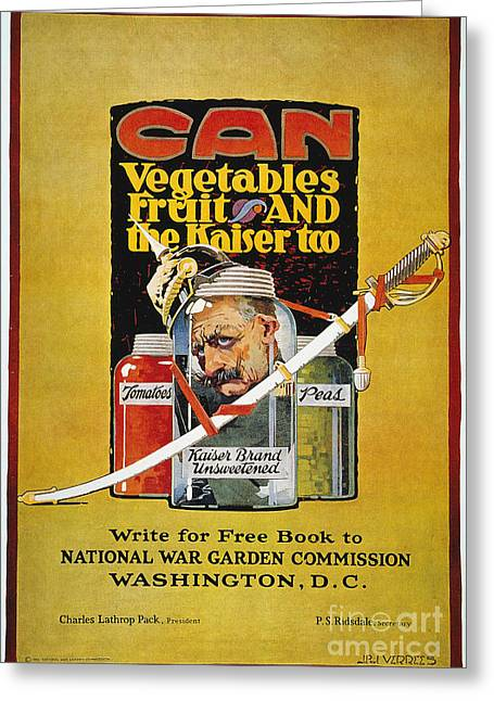 Canned Fruit Greeting Cards - World War I: U.s. Poster Greeting Card by Granger