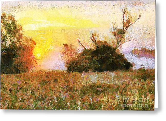 Czintos Abstract Greeting Cards - Sunset Greeting Card by Odon Czintos