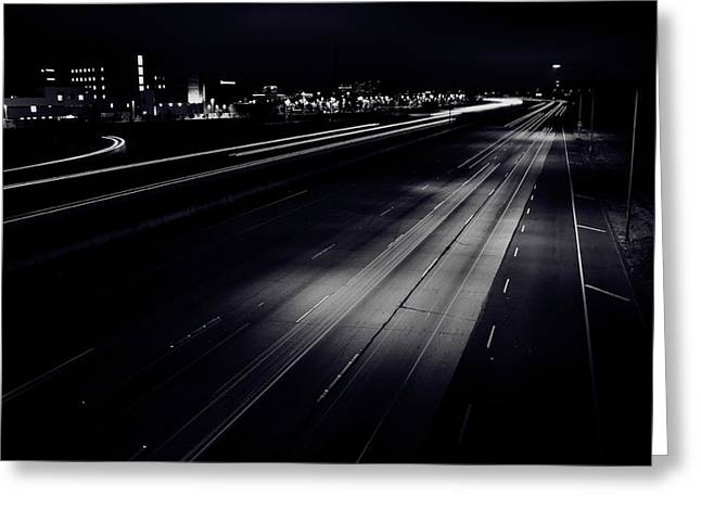 Night Lamp Greeting Cards - 405 South Greeting Card by Vinnie Finn