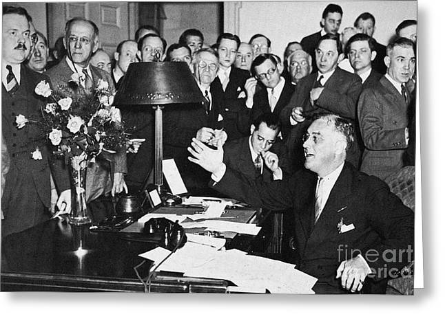 Press Conference Greeting Cards - Franklin D. Roosevelt Greeting Card by Granger